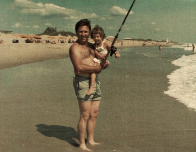 With Dad during carefree times