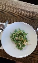 Green beans and sugar snaps from Lee, fried onion, horseradish, bacon and Animal Farm buttermilk